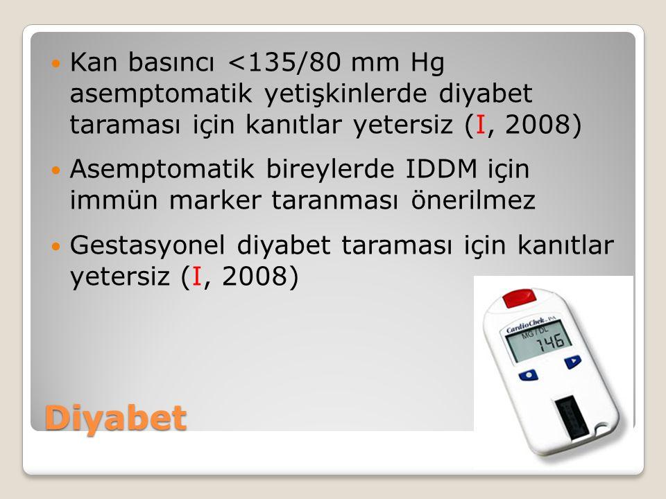 Kan basıncı <135/80 mm Hg asemptomatik yetişkinlerde diyabet taraması için kanıtlar yetersiz (I, 2008)