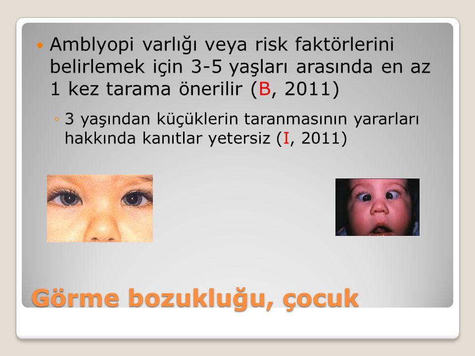 Amblyopi varlığı veya risk faktörlerini belirlemek için 3-5 yaşları arasında en az 1 kez tarama önerilir (B, 2011)