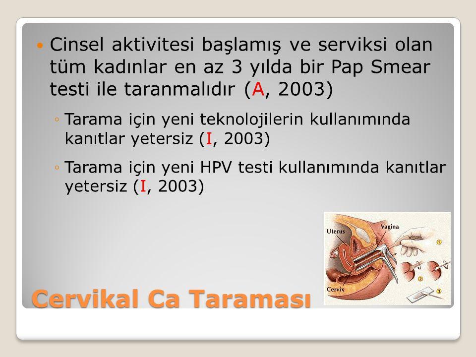 Cinsel aktivitesi başlamış ve serviksi olan tüm kadınlar en az 3 yılda bir Pap Smear testi ile taranmalıdır (A, 2003)