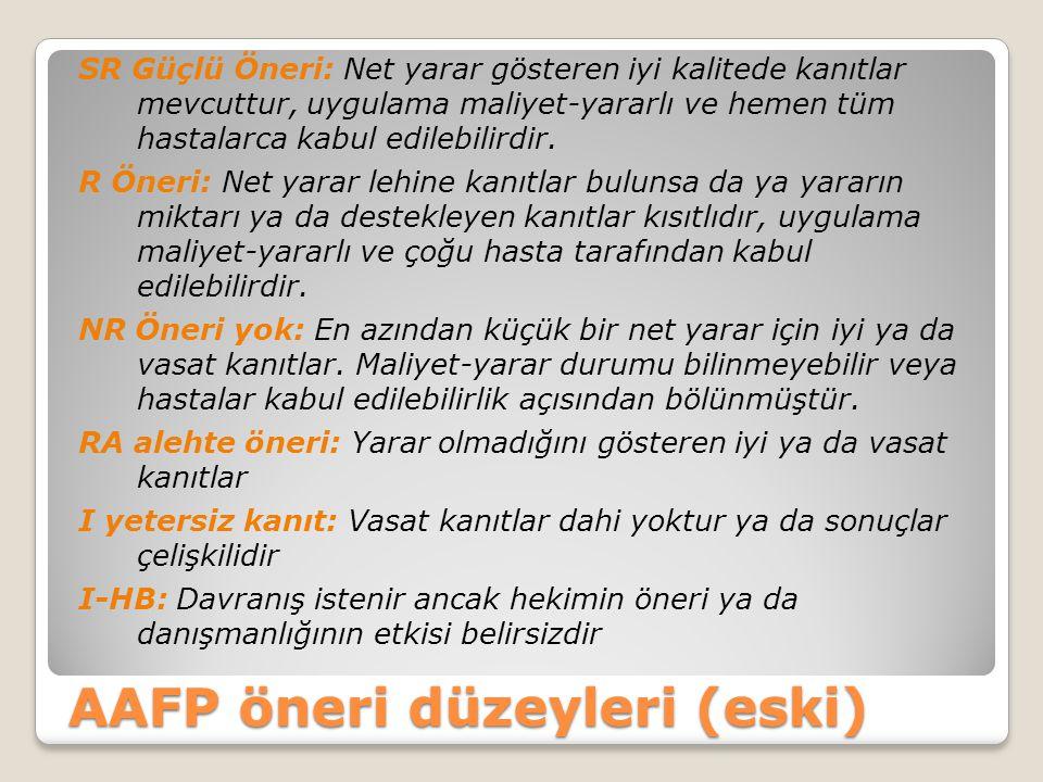 AAFP öneri düzeyleri (eski)