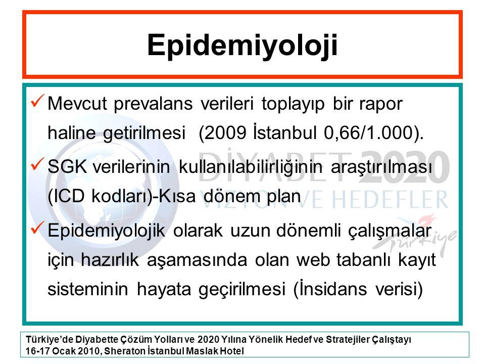 Epidemiyoloji Mevcut prevalans verileri toplayıp bir rapor haline getirilmesi (2009 İstanbul 0,66/1.000).