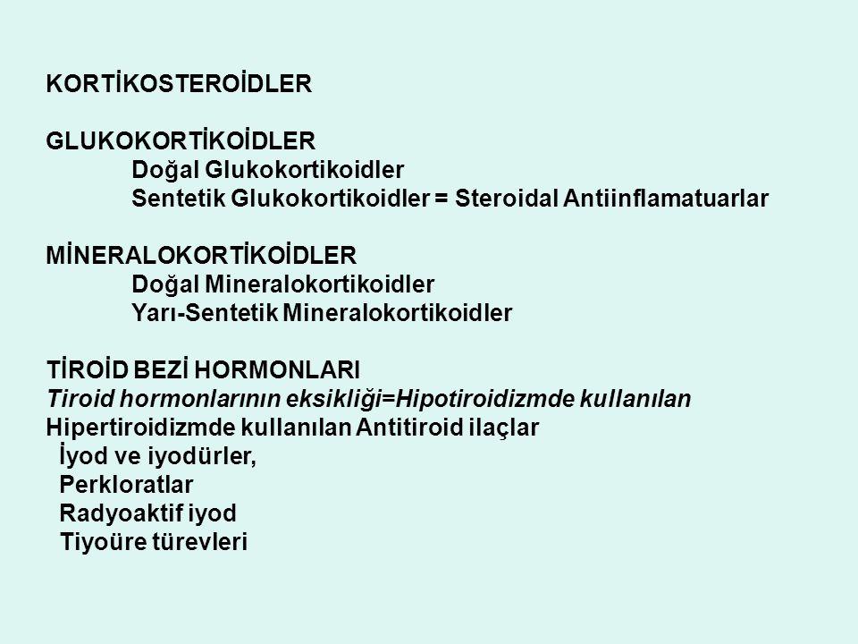 KORTİKOSTEROİDLER GLUKOKORTİKOİDLER. Doğal Glukokortikoidler. Sentetik Glukokortikoidler = Steroidal Antiinflamatuarlar.