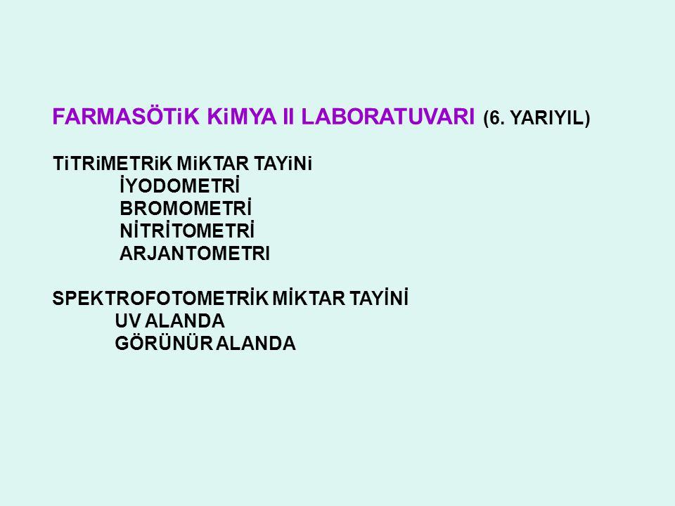 FARMASÖTiK KiMYA II LABORATUVARI (6. YARIYIL)