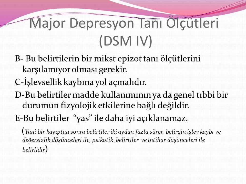 Major Depresyon Tanı Ölçütleri (DSM IV)