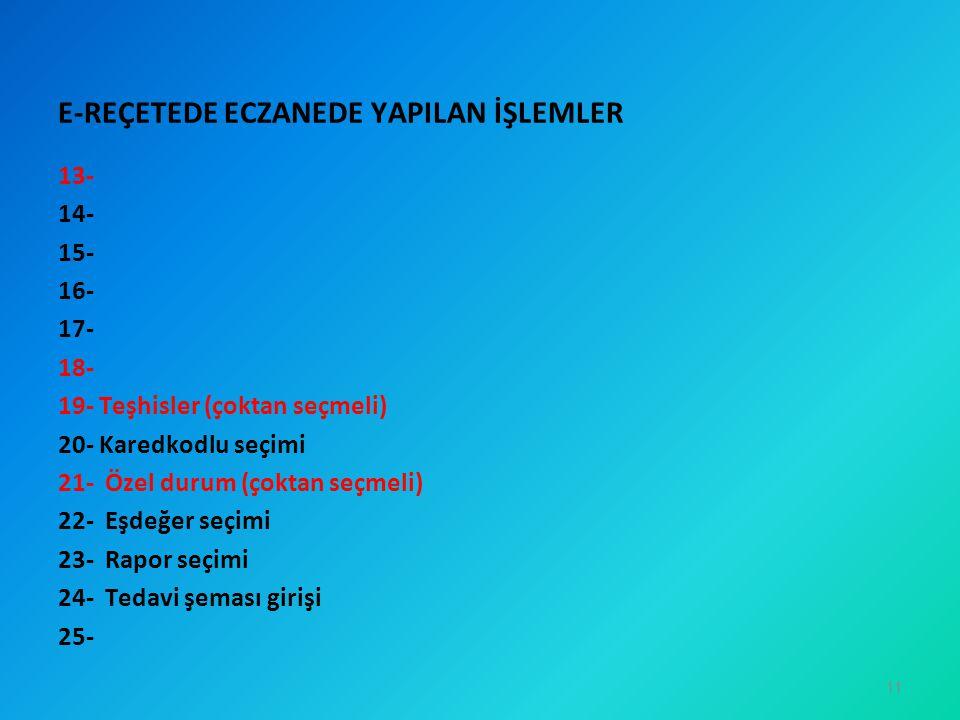 E-REÇETEDE ECZANEDE YAPILAN İŞLEMLER
