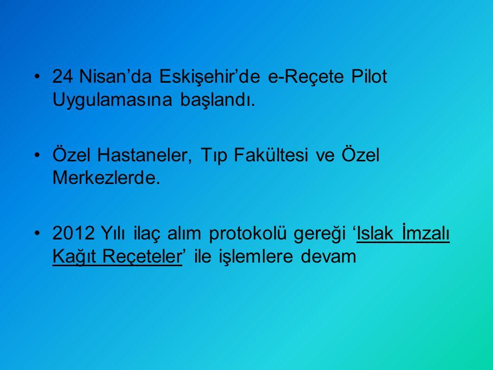 24 Nisan'da Eskişehir'de e-Reçete Pilot Uygulamasına başlandı.