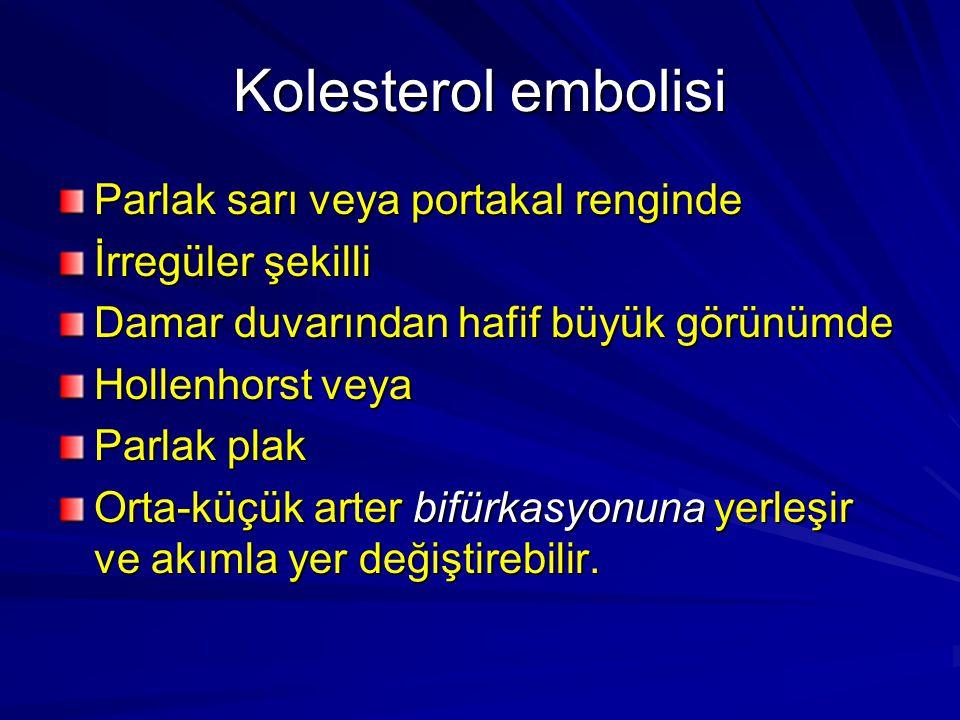 Kolesterol embolisi Parlak sarı veya portakal renginde