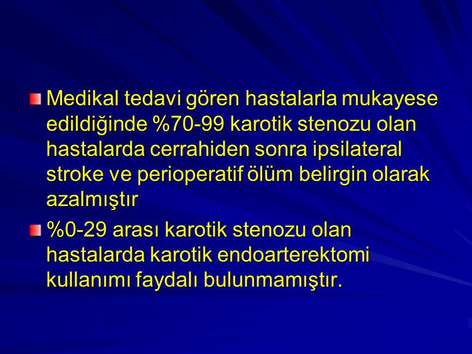 Medikal tedavi gören hastalarla mukayese edildiğinde %70-99 karotik stenozu olan hastalarda cerrahiden sonra ipsilateral stroke ve perioperatif ölüm belirgin olarak azalmıştır