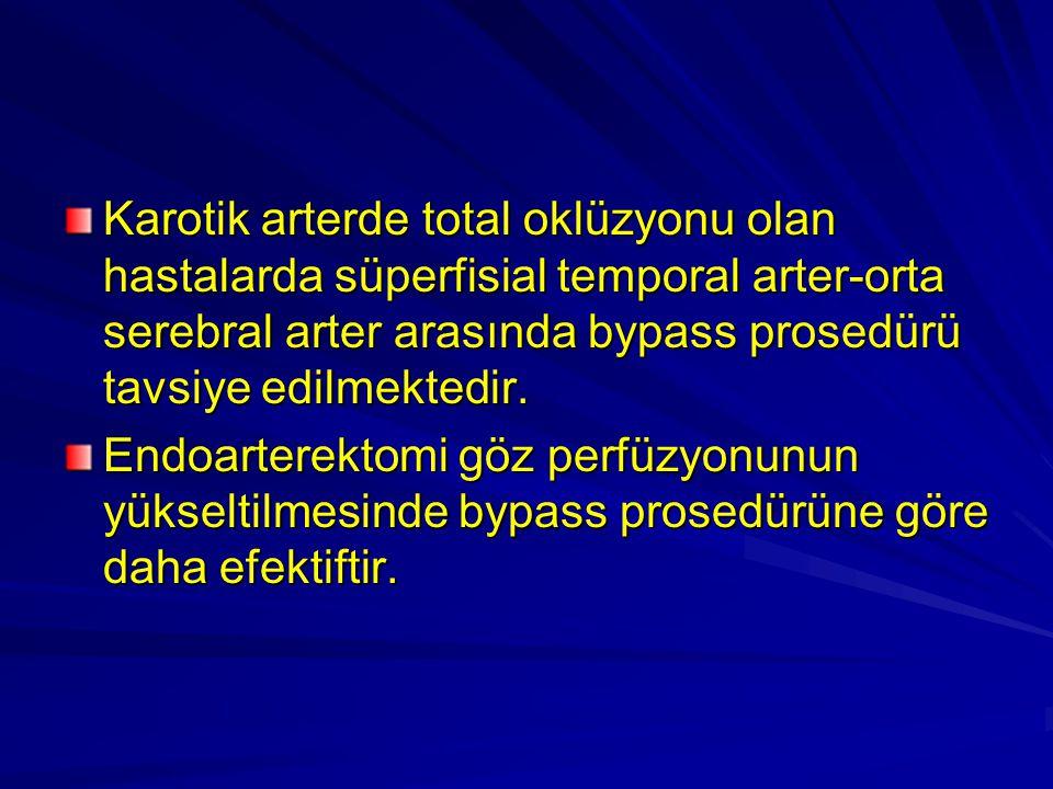 Karotik arterde total oklüzyonu olan hastalarda süperfisial temporal arter-orta serebral arter arasında bypass prosedürü tavsiye edilmektedir.