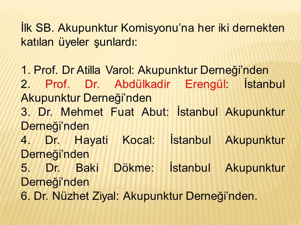 İlk SB. Akupunktur Komisyonu'na her iki dernekten katılan üyeler şunlardı: