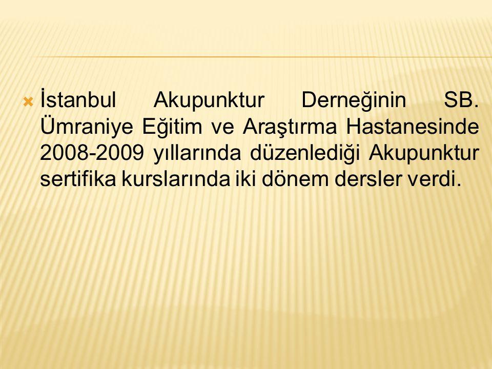 İstanbul Akupunktur Derneğinin SB