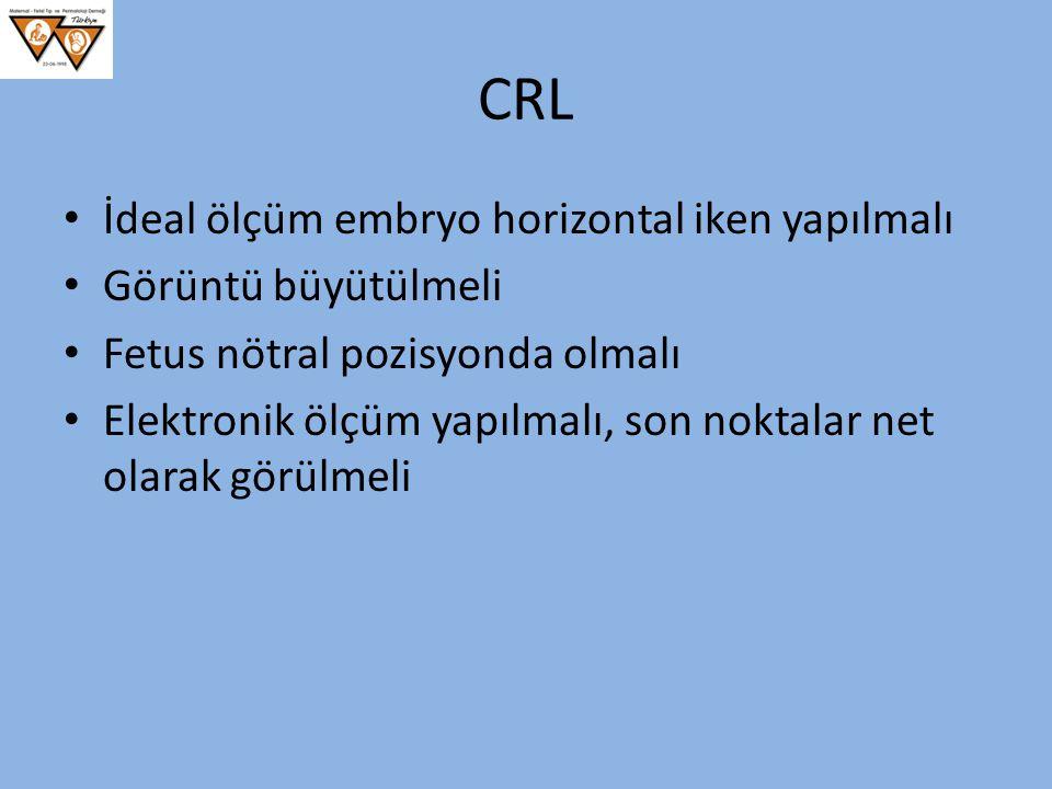 CRL İdeal ölçüm embryo horizontal iken yapılmalı Görüntü büyütülmeli