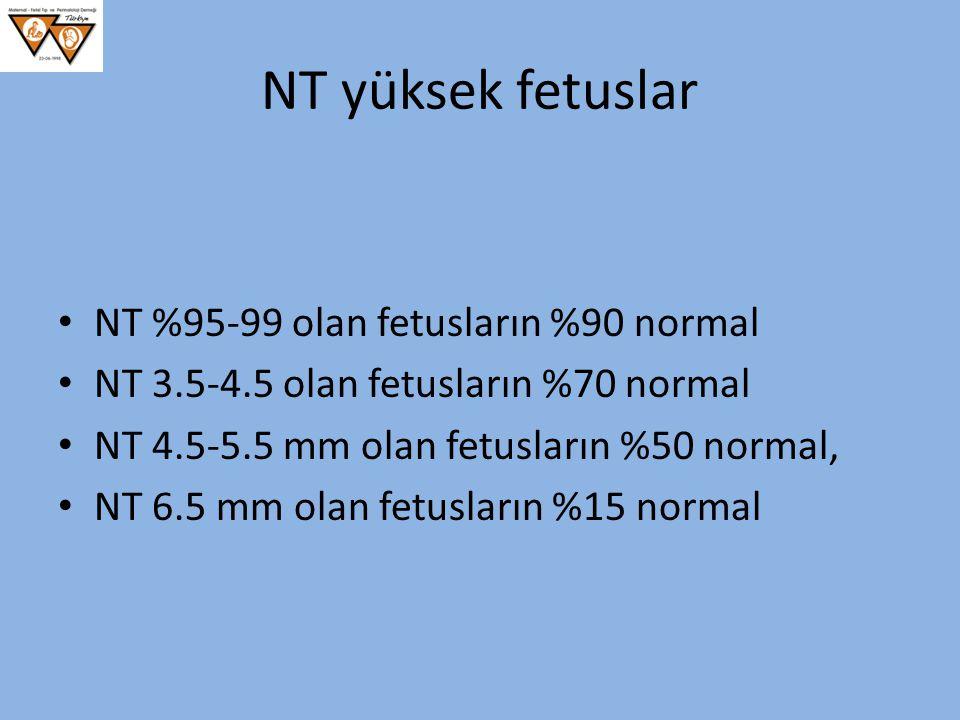 NT yüksek fetuslar NT %95-99 olan fetusların %90 normal