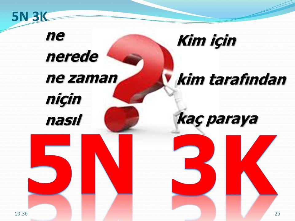 5N 3K 5N 3K Kim için ne nerede ne zaman niçin nasıl kim tarafından
