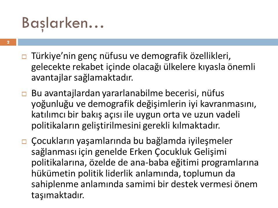 Başlarken… Türkiye'nin genç nüfusu ve demografik özellikleri, gelecekte rekabet içinde olacağı ülkelere kıyasla önemli avantajlar sağlamaktadır.