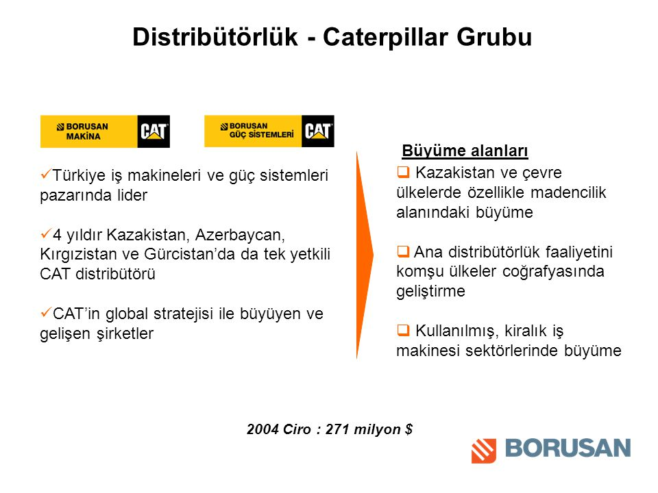 Distribütörlük - Caterpillar Grubu