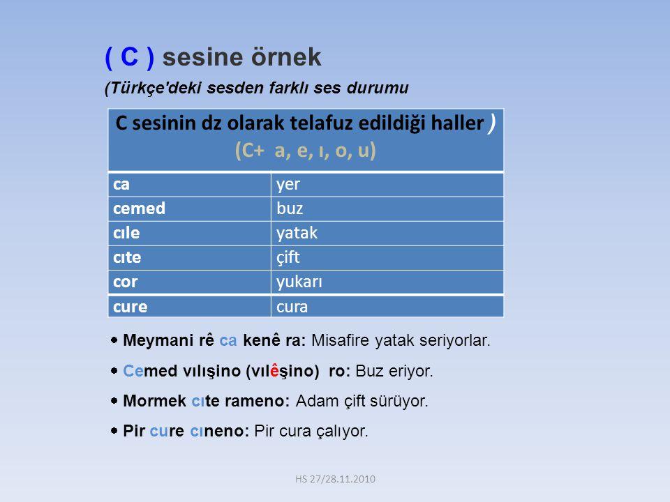 C sesinin dz olarak telafuz edildiği haller ) (C+ a, e, ı, o, u)