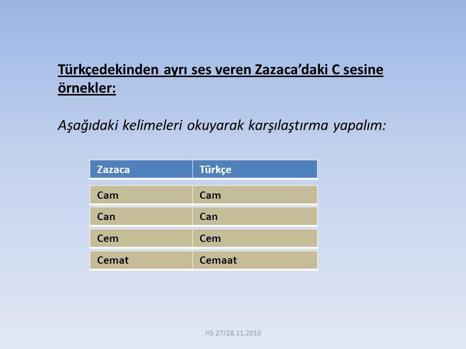 Türkçedekinden ayrı ses veren Zazaca'daki C sesine örnekler: