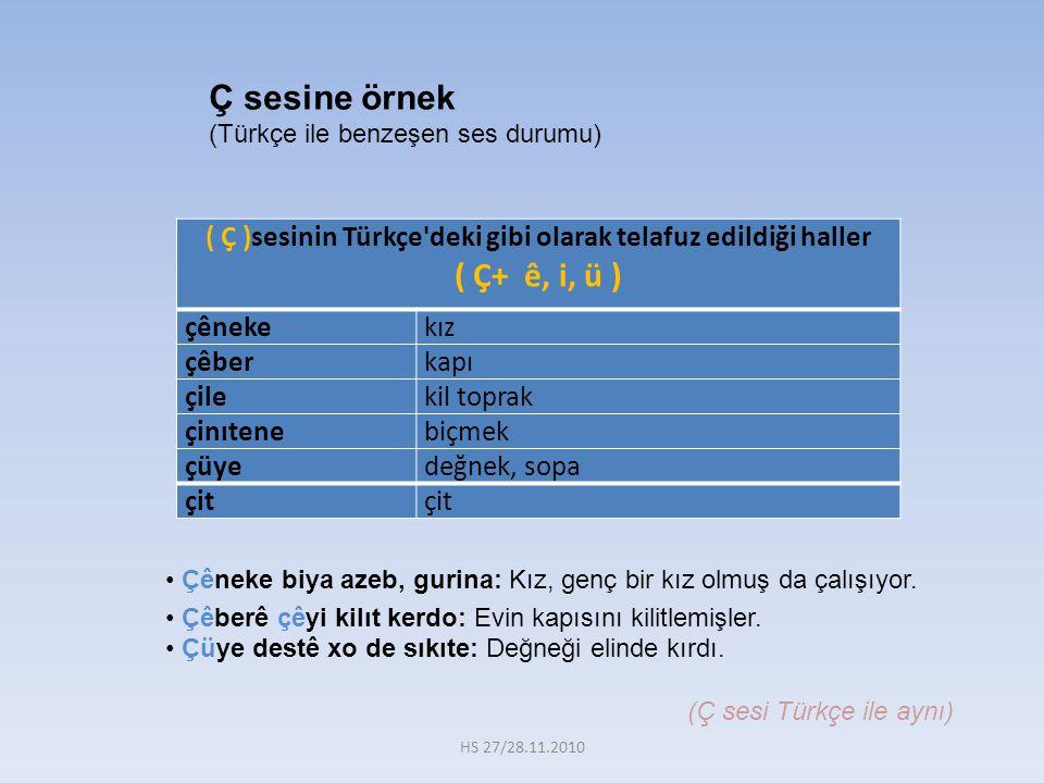( Ç )sesinin Türkçe deki gibi olarak telafuz edildiği haller