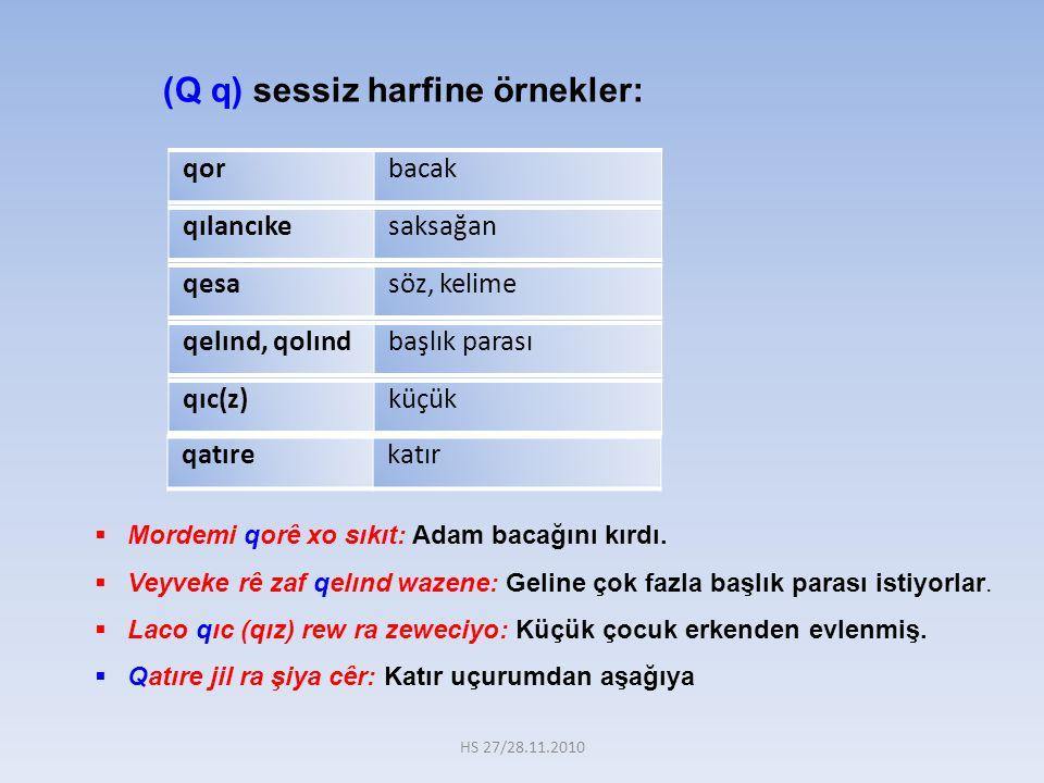 (Q q) sessiz harfine örnekler: