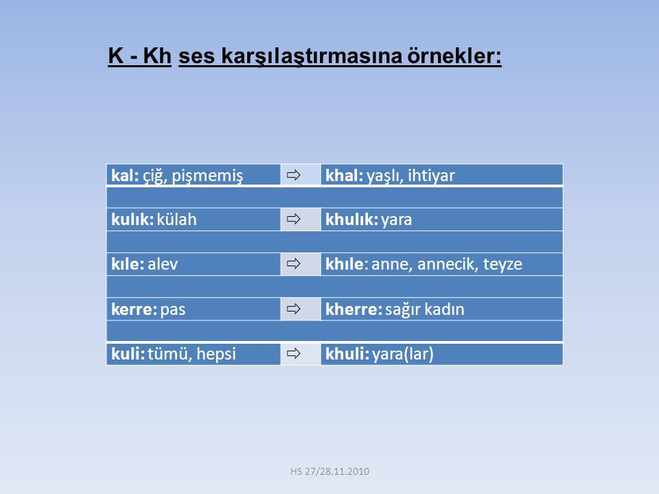 K - Kh ses karşılaştırmasına örnekler:
