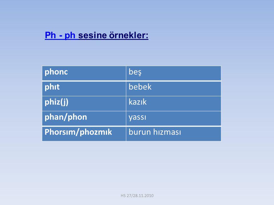Ph - ph sesine örnekler: phonc beş phıt bebek phiz(j) kazık phan/phon