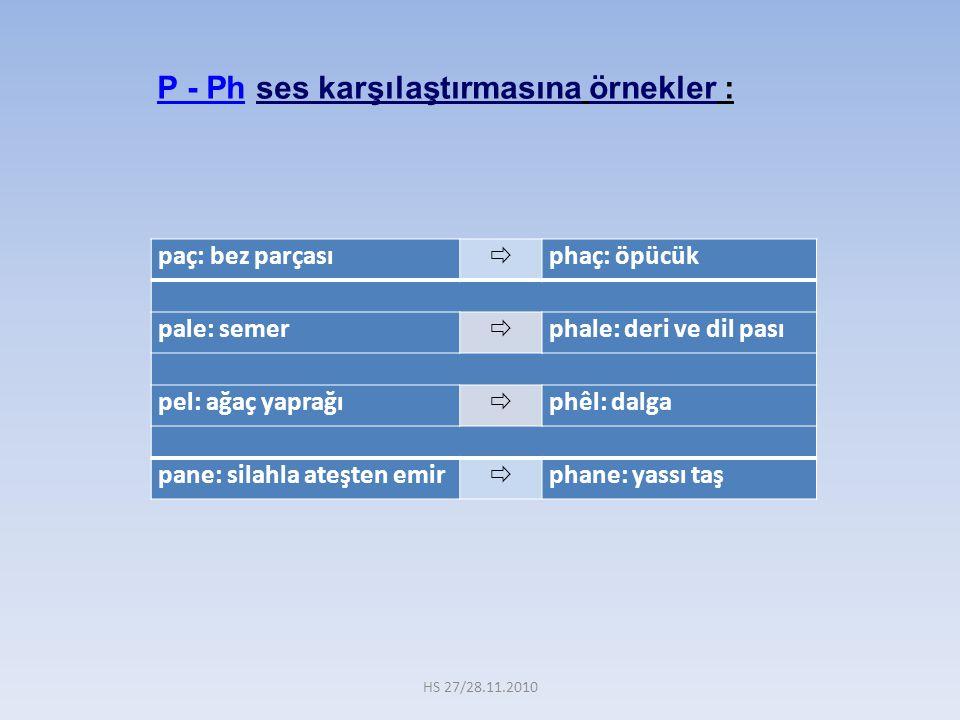 P - Ph ses karşılaştırmasına örnekler :