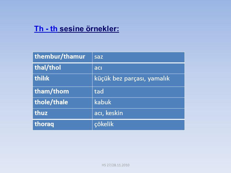 Th - th sesine örnekler: