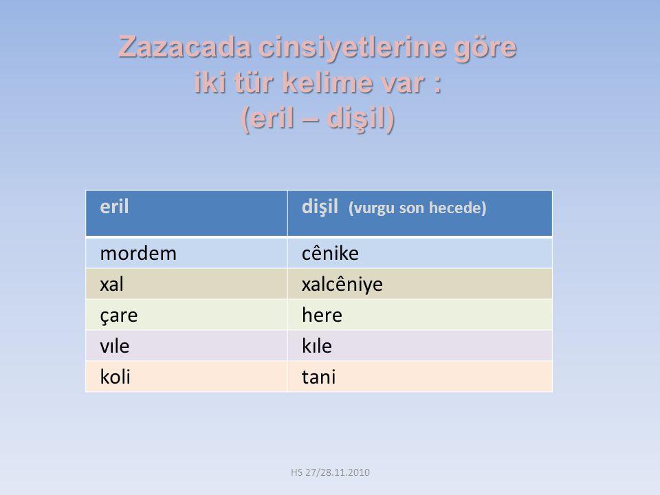 Zazacada cinsiyetlerine göre iki tür kelime var : (eril – dişil)