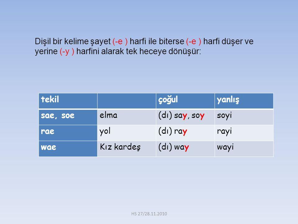 Dişil bir kelime şayet (-e ) harfi ile biterse (-e ) harfi düşer ve yerine (-y ) harfini alarak tek heceye dönüşür: