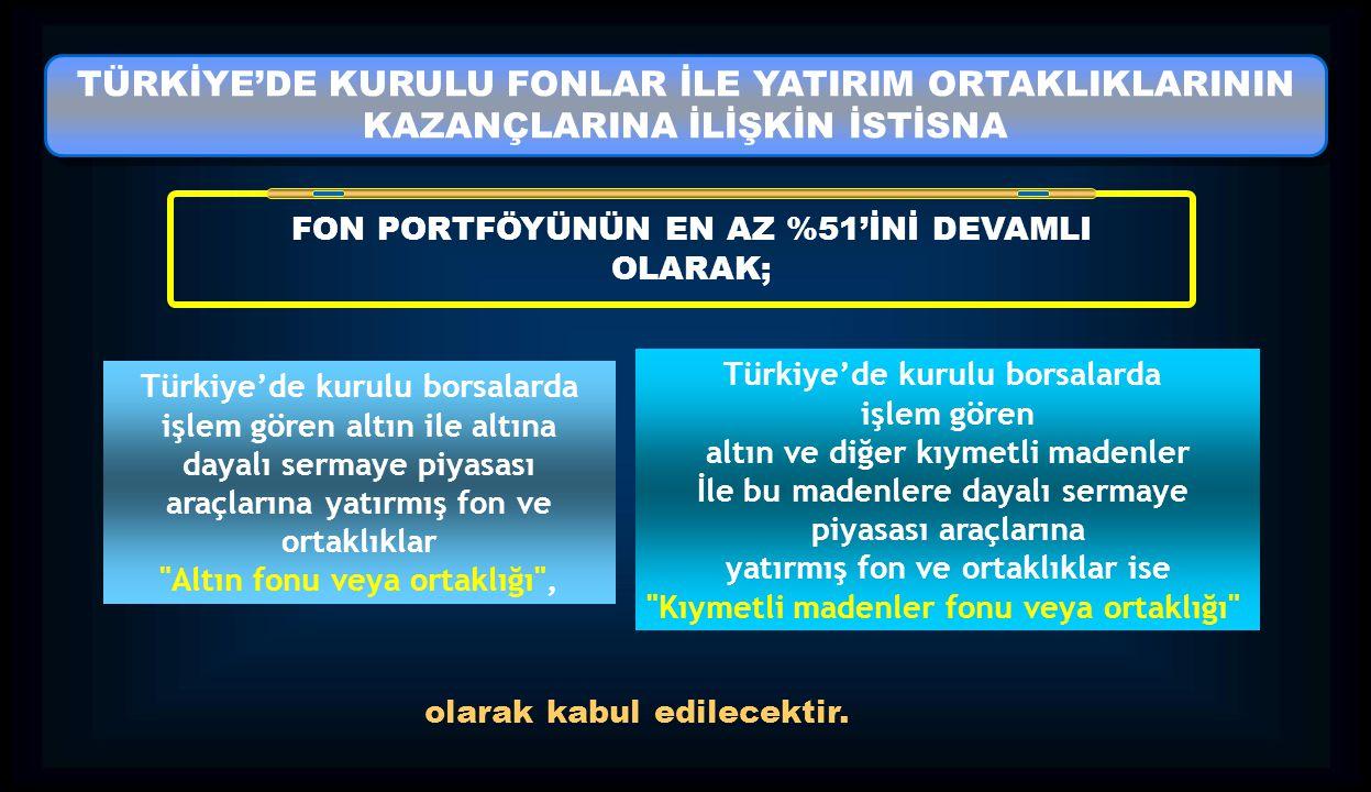 TÜRKİYE'DE KURULU FONLAR İLE YATIRIM ORTAKLIKLARININ