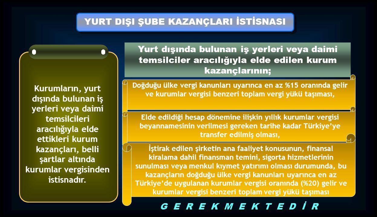 YURT DIŞI ŞUBE KAZANÇLARI İSTİSNASI