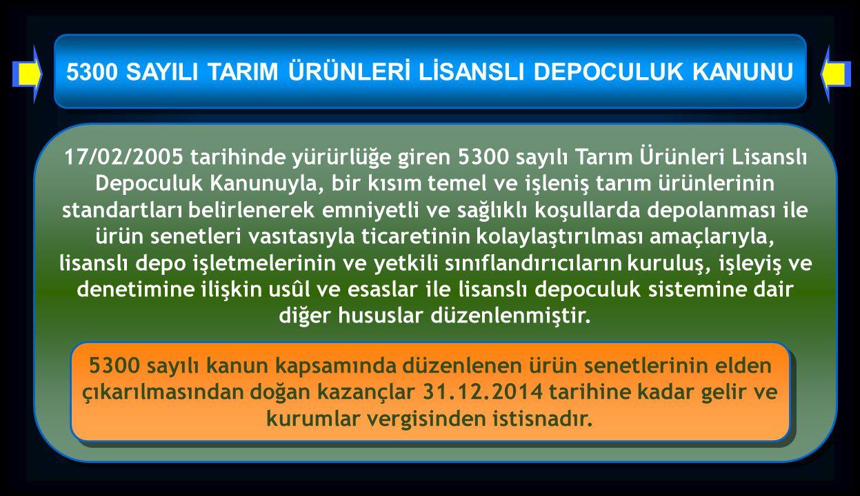 5300 SAYILI TARIM ÜRÜNLERİ LİSANSLI DEPOCULUK KANUNU