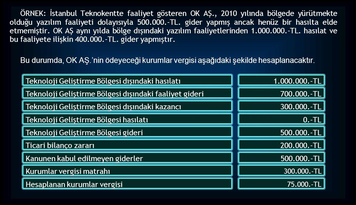 Teknoloji Geliştirme Bölgesi dışındaki hasılatı 1.000.000.-TL