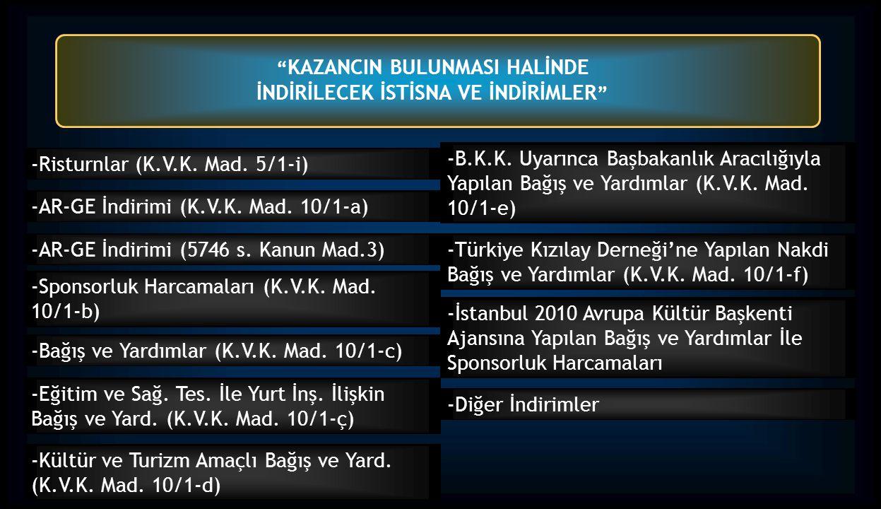KAZANCIN BULUNMASI HALİNDE İNDİRİLECEK İSTİSNA VE İNDİRİMLER