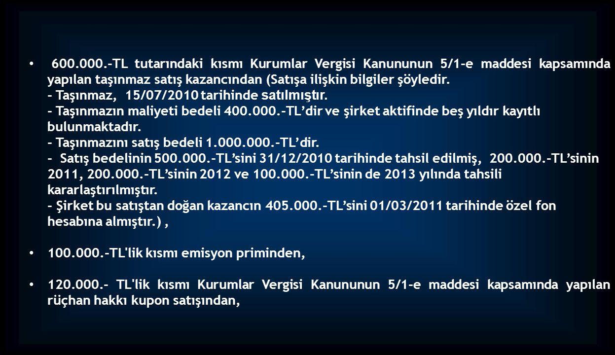 - Taşınmaz, 15/07/2010 tarihinde satılmıştır.