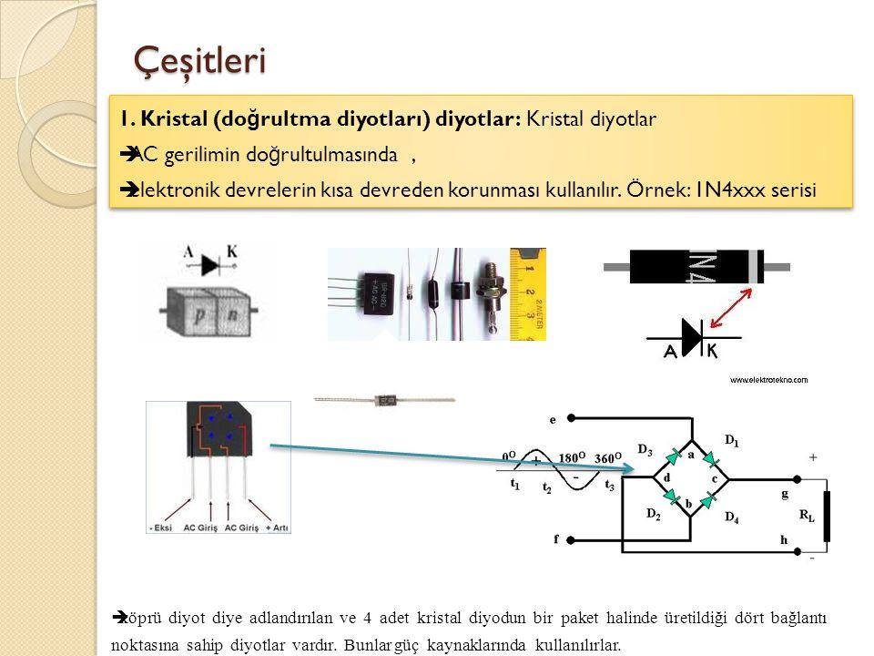 Çeşitleri 1. Kristal (doğrultma diyotları) diyotlar: Kristal diyotlar