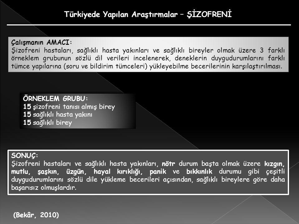 Türkiyede Yapılan Araştırmalar – ŞİZOFRENİ