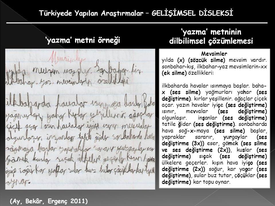 'yazma' metninin dilbilimsel çözümlemesi 'yazma' metni örneği