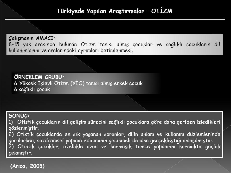 Türkiyede Yapılan Araştırmalar – OTİZM