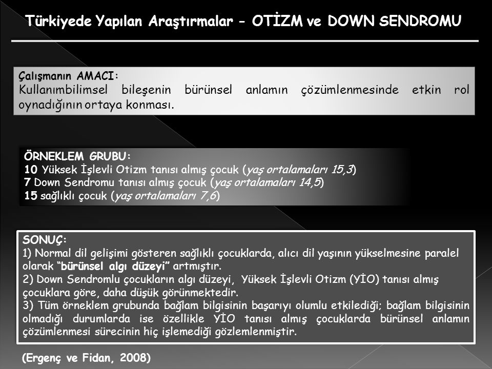 Türkiyede Yapılan Araştırmalar - OTİZM ve DOWN SENDROMU
