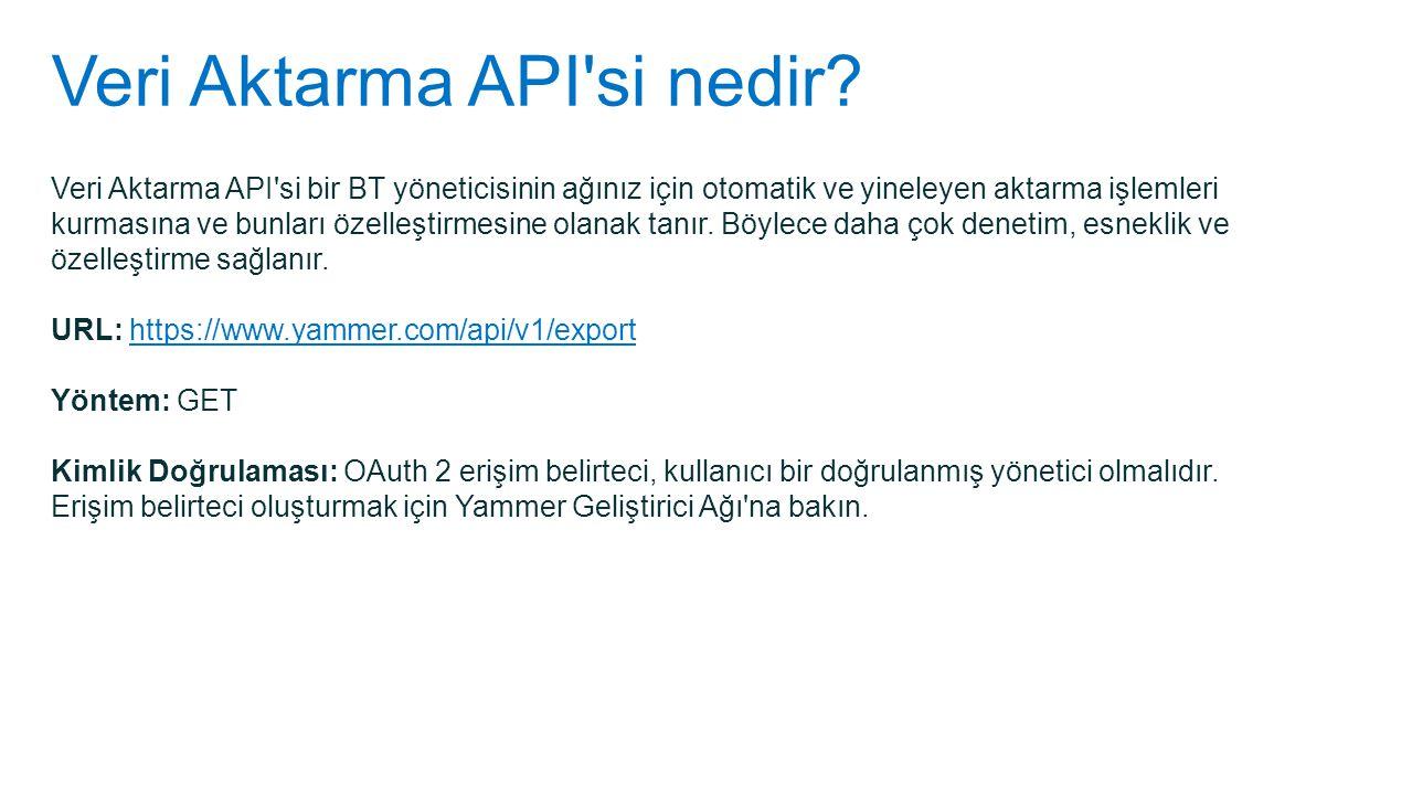 Veri Aktarma API si nedir