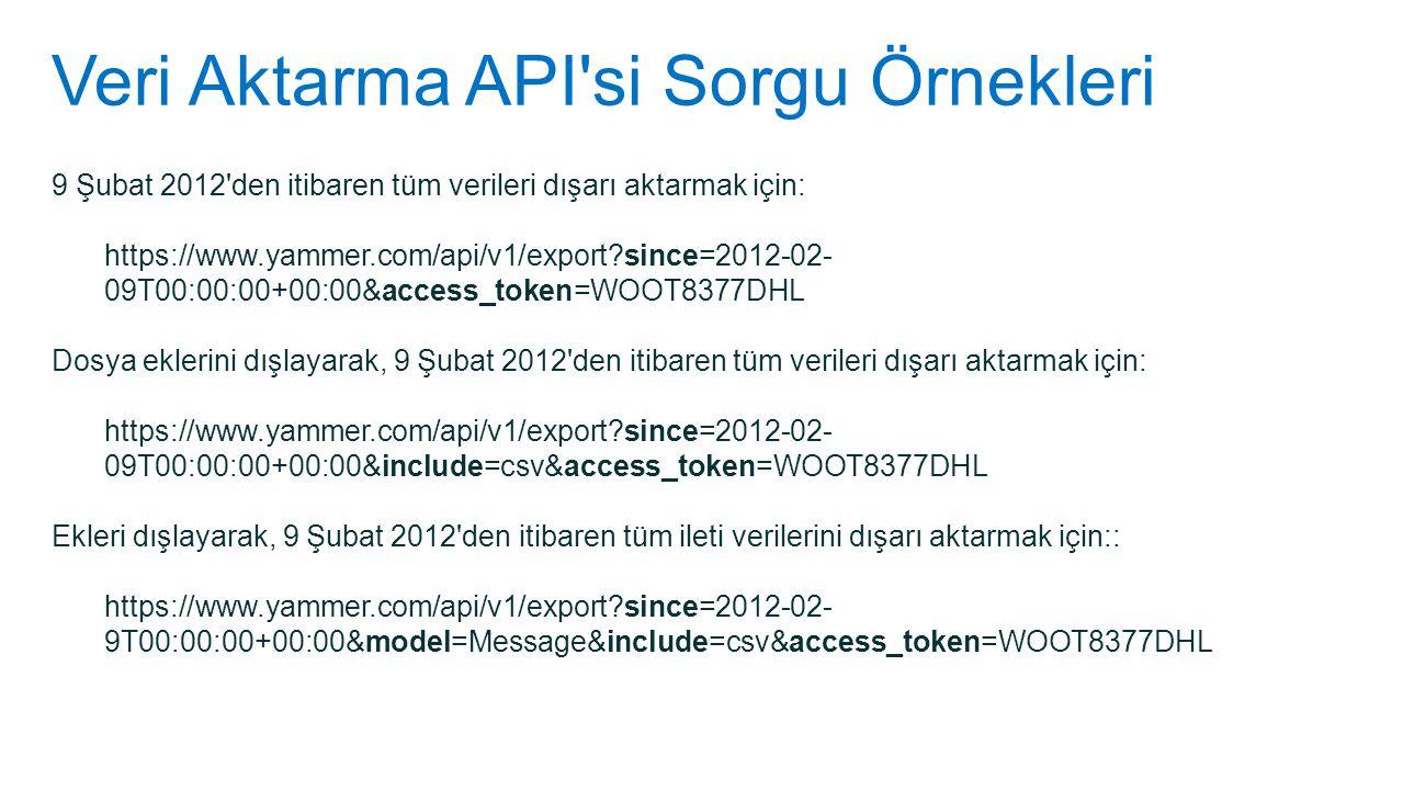 Veri Aktarma API si Sorgu Örnekleri