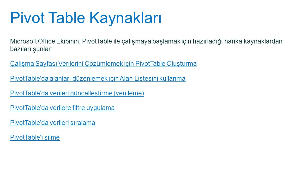 Pivot Table Kaynakları