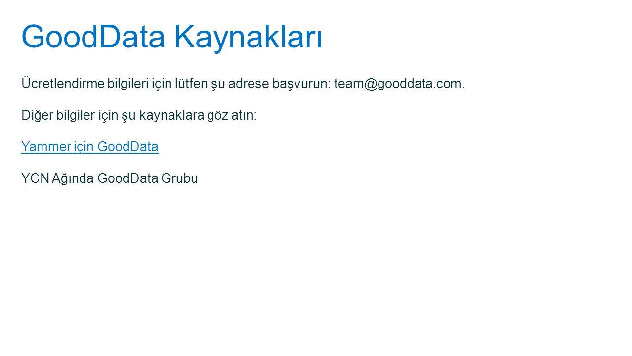 GoodData Kaynakları Ücretlendirme bilgileri için lütfen şu adrese başvurun: team@gooddata.com. Diğer bilgiler için şu kaynaklara göz atın: