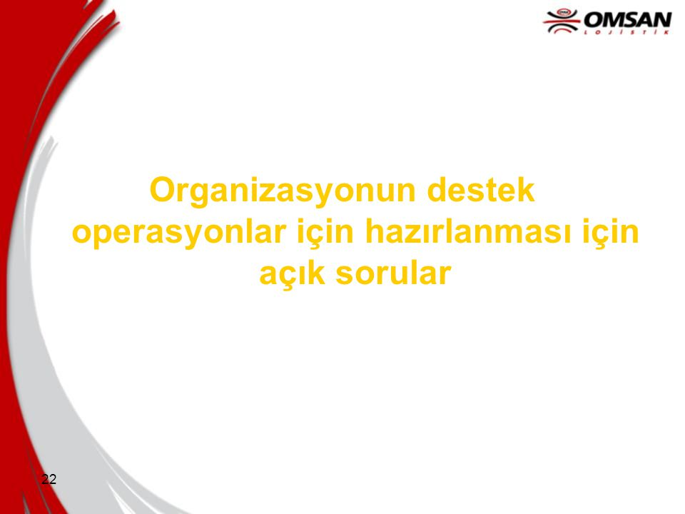 Organizasyonun destek operasyonlar için hazırlanması için açık sorular