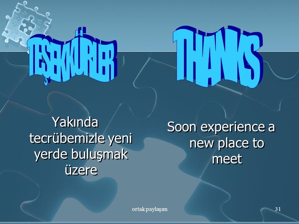 THANKS TEŞEKKÜRLER Yakında tecrübemizle yeni yerde buluşmak üzere