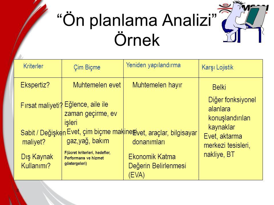 Ön planlama Analizi Örnek