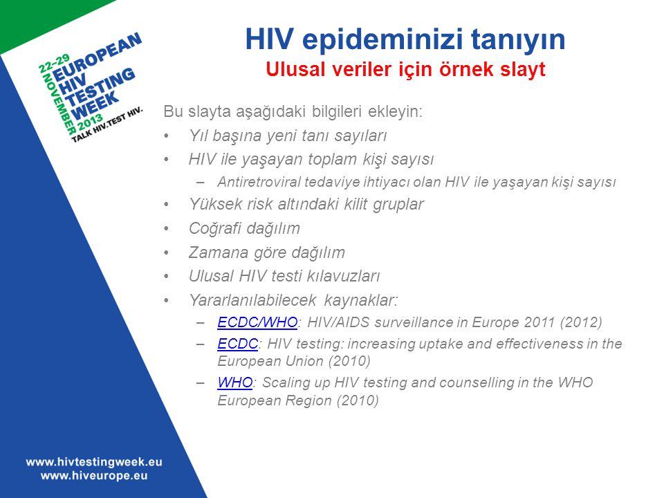 HIV epideminizi tanıyın Ulusal veriler için örnek slayt