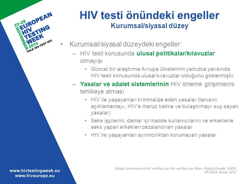 HIV testi önündeki engeller Kurumsal/siyasal düzey